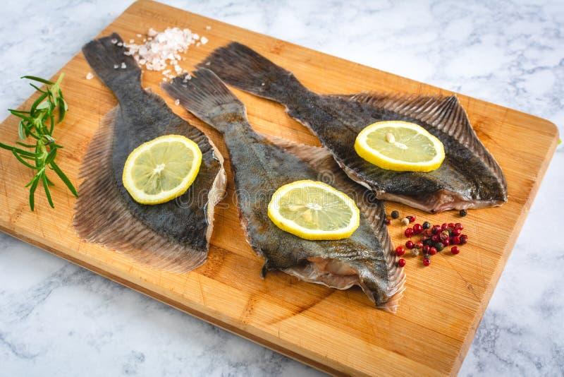 新鲜的未煮过的比目鱼鱼 免版税图库摄影