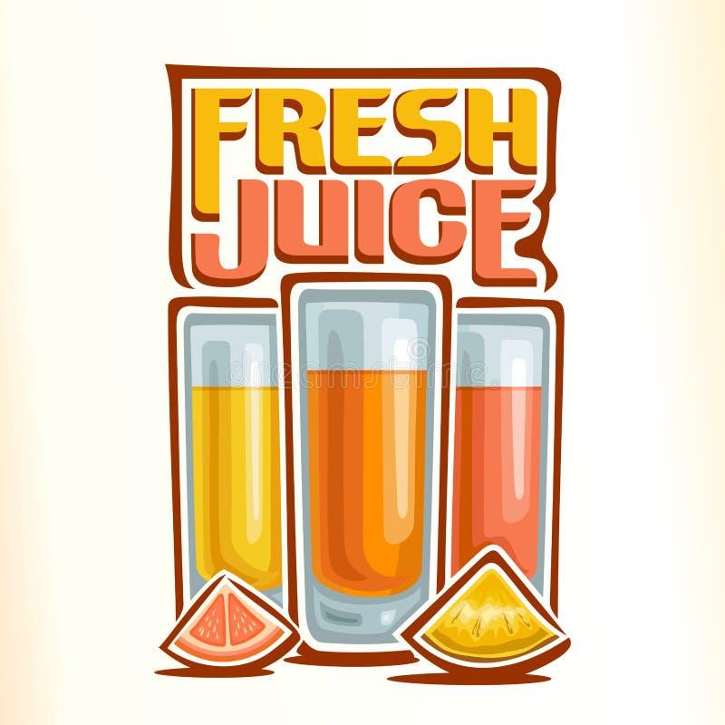 新鲜的柑橘汁的传染媒介商标 库存例证