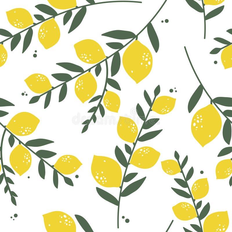 新鲜的柠檬和叶子,无缝的样式 向量例证