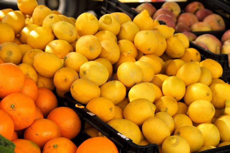 新鲜的柠檬和桔子在市场摊位在西班牙南部 库存照片