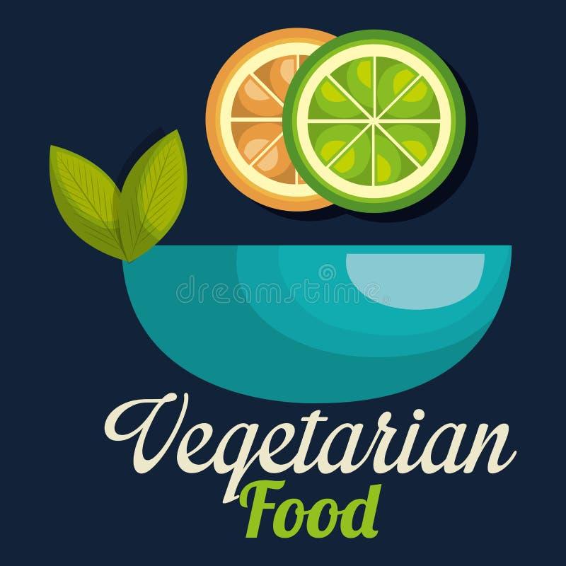新鲜的柠檬和桔子在碗素食主义者食物 向量例证