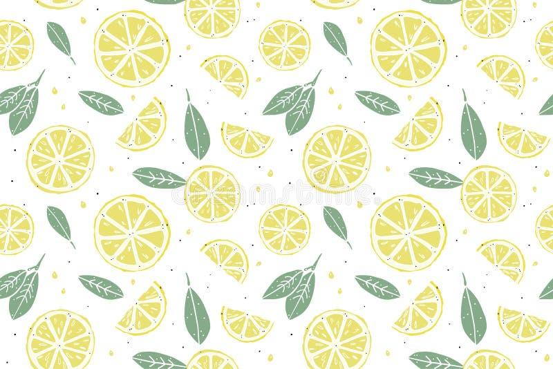 新鲜的柠檬无缝的样式 皇族释放例证