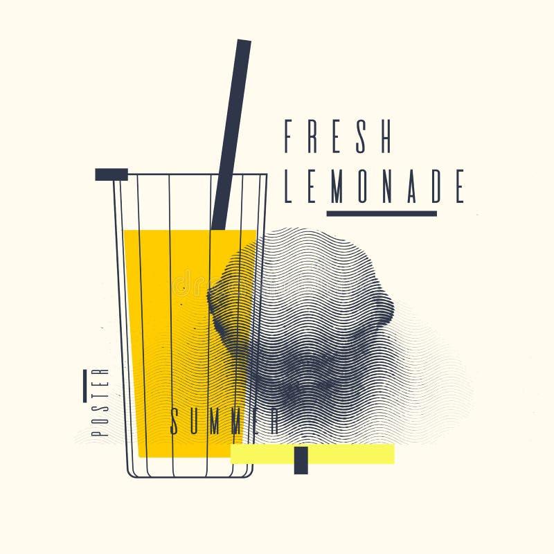 新鲜的柠檬水时髦的海报,时髦图表 向量例证