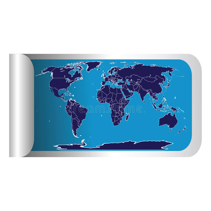 新鲜的标签映射棍子世界 向量例证