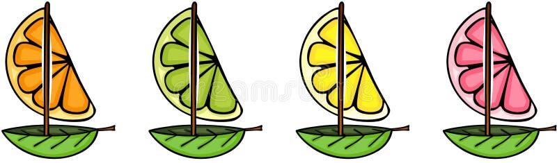 新鲜的桔子、葡萄柚、柠檬和石灰小船塑造 皇族释放例证