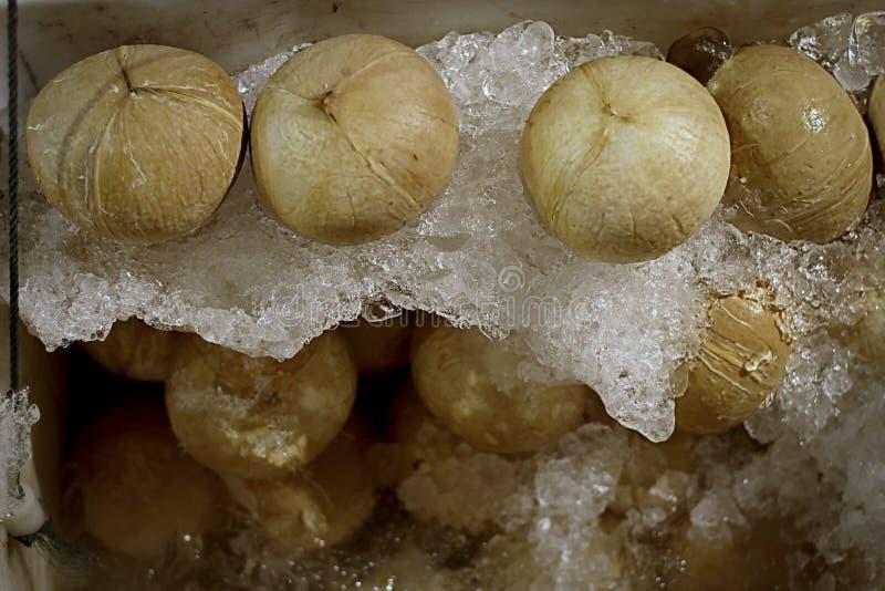 新鲜的椰子和椰子汁在冰桶 免版税库存照片