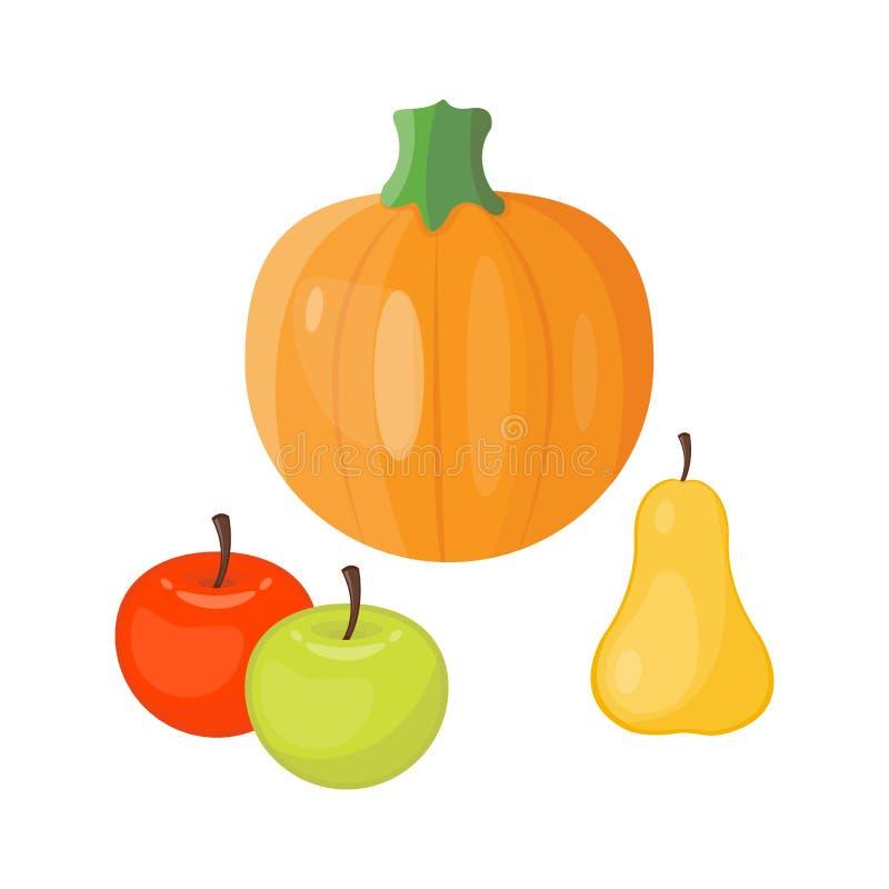新鲜的橙色南瓜季节性苹果梨结果实成熟食物有机健康素食菜传染媒介 皇族释放例证