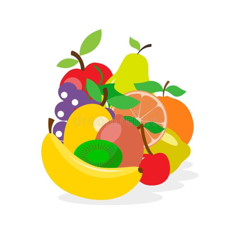 新鲜的水多的果子和莓果在平的样式 皇族释放例证