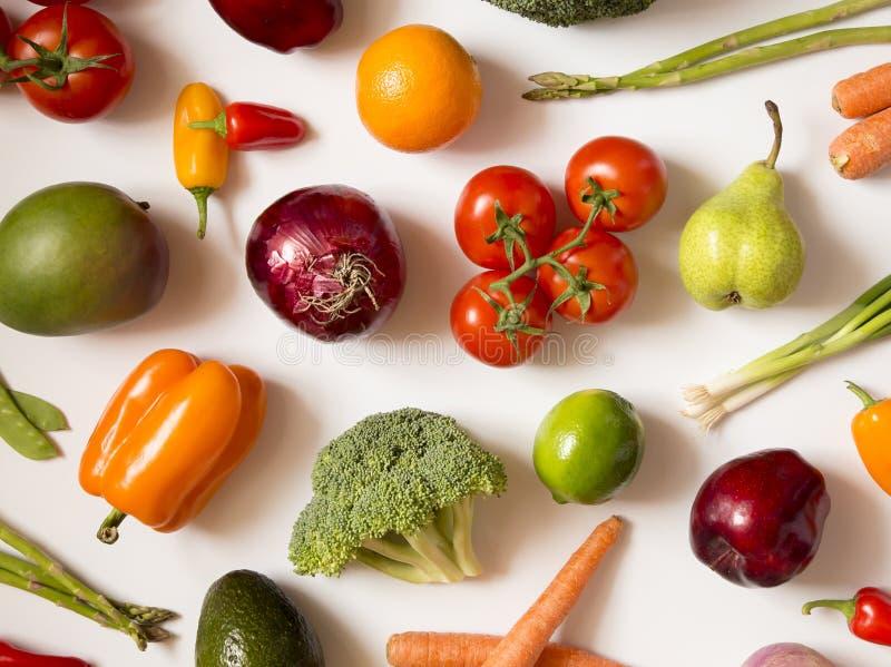 新鲜的水果和蔬菜背景  库存图片