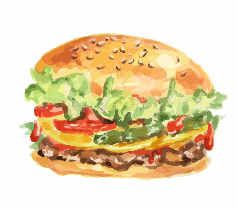 新鲜的汉堡包 库存例证