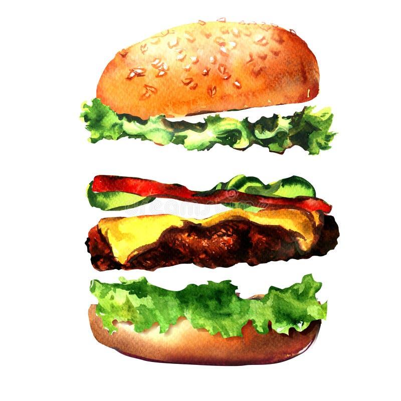 新鲜的汉堡成份,鲜美汉堡包,新鲜的汉堡用莴苣,乳酪,蕃茄,肉,黄瓜,小圆面包,便当 向量例证
