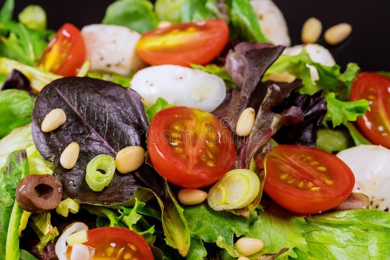 新鲜的沙拉用莴苣、西红柿、无盐干酪乳酪和橄榄在健康食品 库存照片