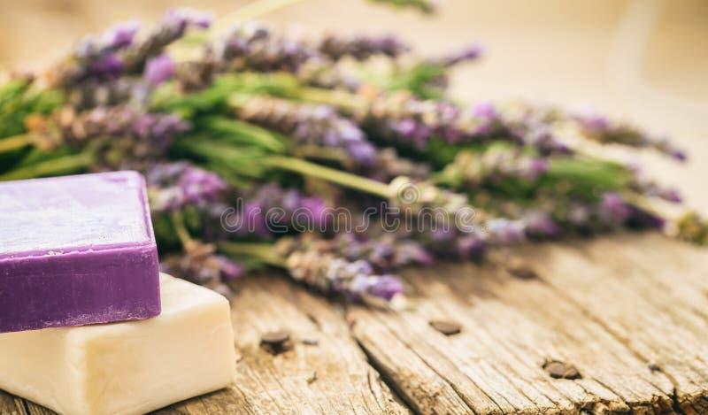 新鲜的淡紫色和淡紫色肥皂 免版税库存图片