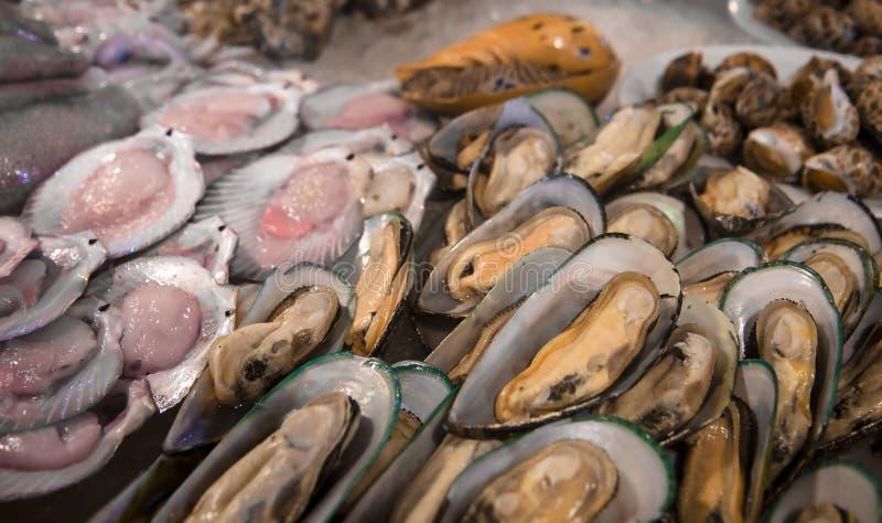 新鲜的淡菜和扇贝在冰 被开放的蛤蜊海鲜市场,海鲜纤巧 免版税库存图片