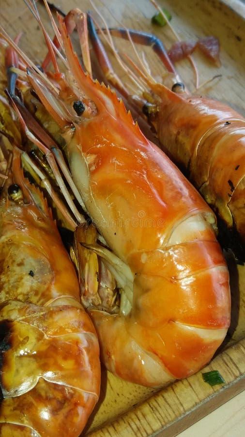 新鲜的烤虾曼谷泰国 库存图片