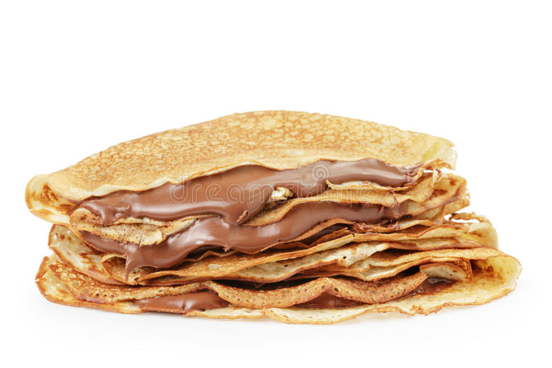 新鲜的热的俄式薄煎饼或绉纱withc巧克力奶油 库存照片