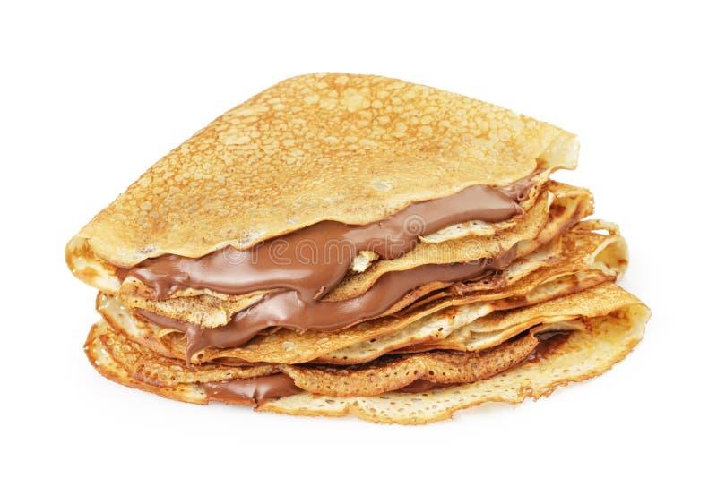 新鲜的热的俄式薄煎饼或绉纱withc巧克力奶油 免版税库存照片