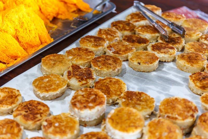 新鲜的煮熟的泰国点心Khanom巴宾 库存图片