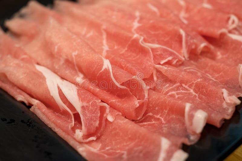 新鲜的猪肉和肉与专家被切 免版税库存图片