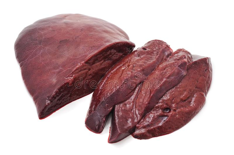 新鲜的猪肉肝脏 库存照片