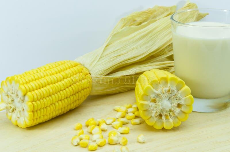 新鲜的玉米用牛奶 图库摄影