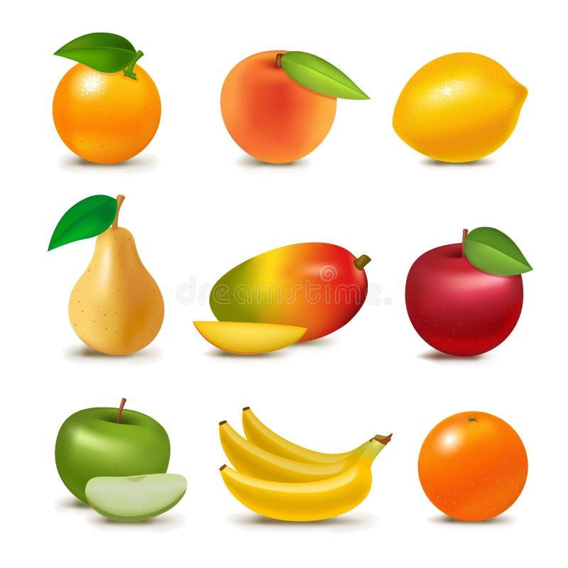 新鲜的现实3d水多的果子切有机素食主义者被隔绝的蔬菜水果商水果的传染媒介例证 库存例证