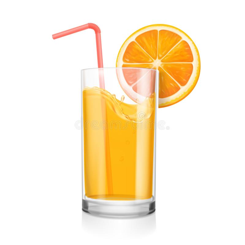 新鲜的玻璃汁液桔子 饮用和realisitc橙色切片柑橘自然果汁饮料的管 皇族释放例证