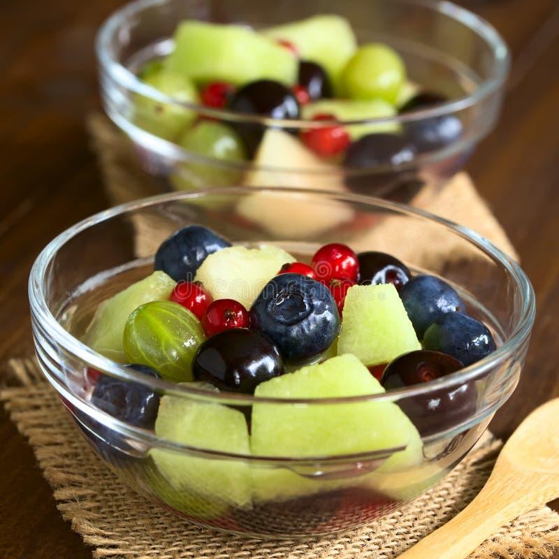 新鲜的瓜和莓果沙拉 库存照片