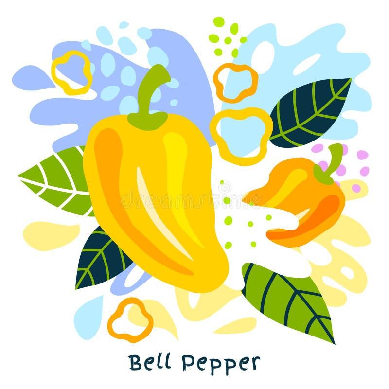 新鲜的甜椒蔬菜汁飞溅有机食品水多的菜在抽象背景传染媒介喷溅 向量例证
