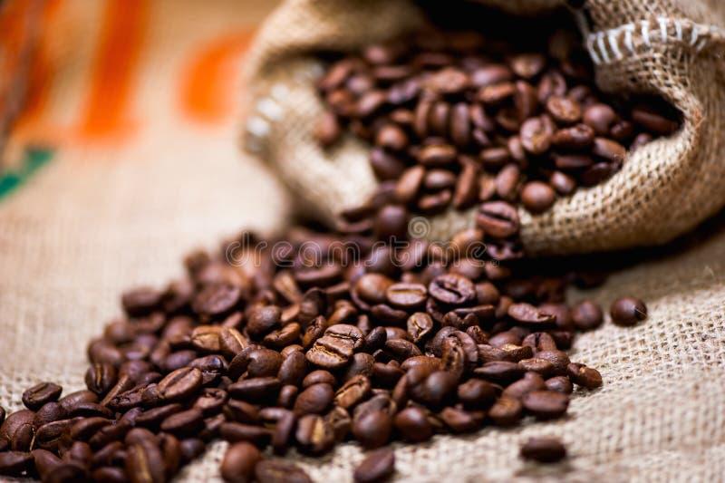 新鲜的生物芳香咖啡豆。进口在葡萄酒包裹 免版税库存照片