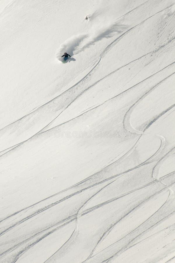 新鲜的粉末雪的滑雪者。 库存图片