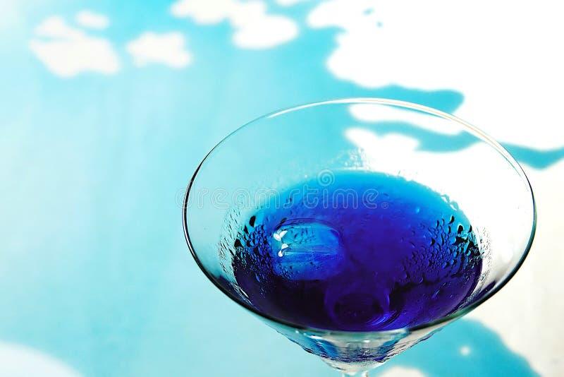 新鲜的紫色蝴蝶豌豆或蓝色豌豆花和汁在玻璃在桌蓝色和白色背景与绿色迷离轻的空间b 免版税库存图片
