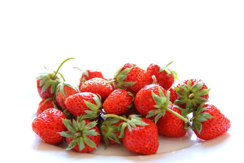 新鲜的红色成熟草莓 免版税库存照片