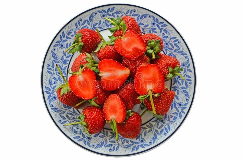 新鲜的红色草莓盘顶视图  免版税库存图片