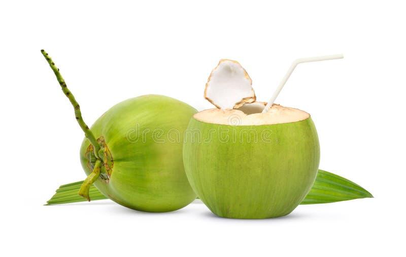 新鲜的绿色椰子准备好对喝 免版税库存图片