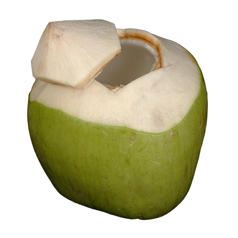 新鲜的绿色椰子有白色被隔绝的背景 免版税库存图片