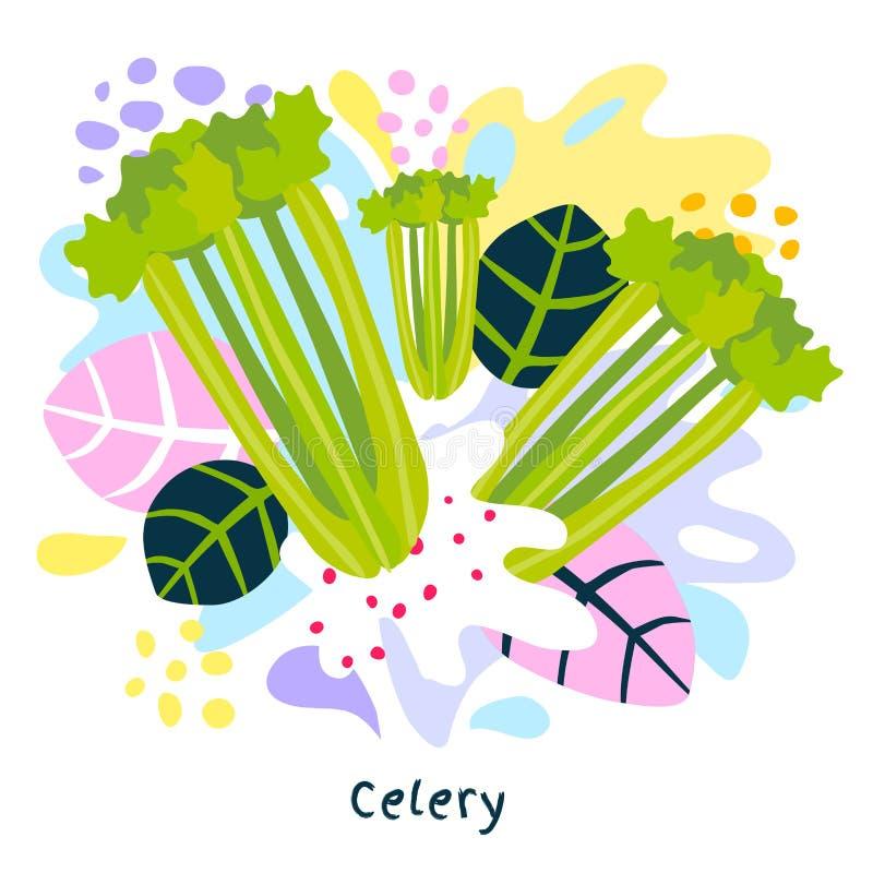 新鲜的绿色芹菜蔬菜汁飞溅有机食品水多的菜在抽象背景传染媒介喷溅 向量例证