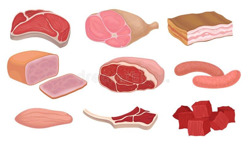 新鲜的肉产品和生肉 r 皇族释放例证