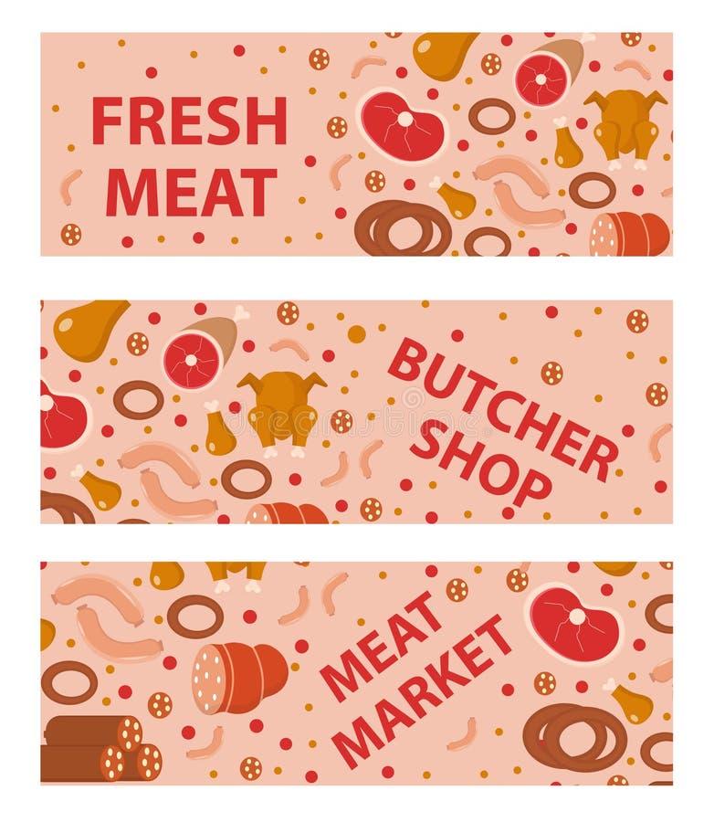 新鲜的肉和香肠横幅集合,平的样式 水平,板,与题字肉店,市场 皇族释放例证