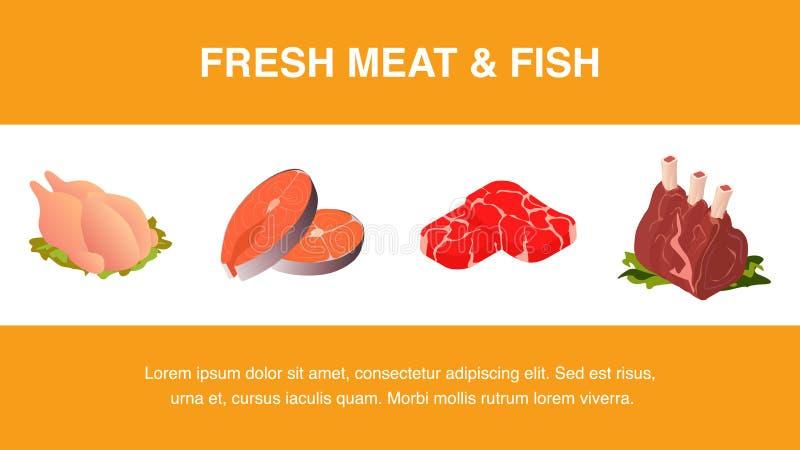 新鲜的肉和鱼现实横幅模板 库存例证