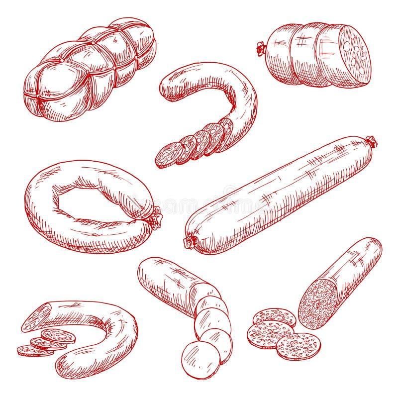 新鲜的肉香肠红色剪影象的分类 皇族释放例证