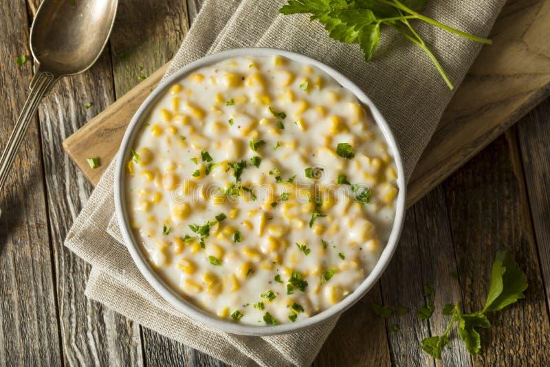 新鲜的自创提取乳脂的玉米 免版税库存图片
