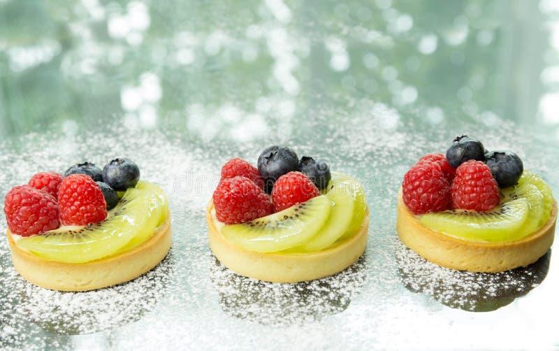 新鲜的自创果子馅饼用莓果和猕猴桃 图库摄影