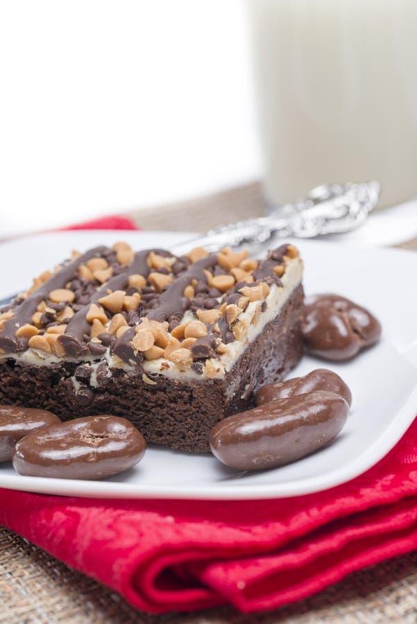 新鲜的花生酱巧克力果仁巧克力和涂了巧克力的Peca 免版税库存照片