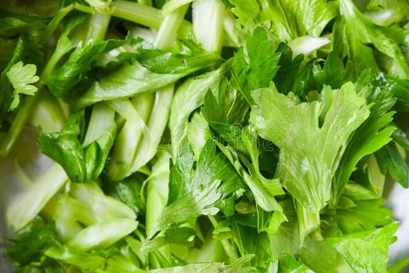 新鲜的芹菜菜-芹菜健康食品的切片背景叶子  图库摄影