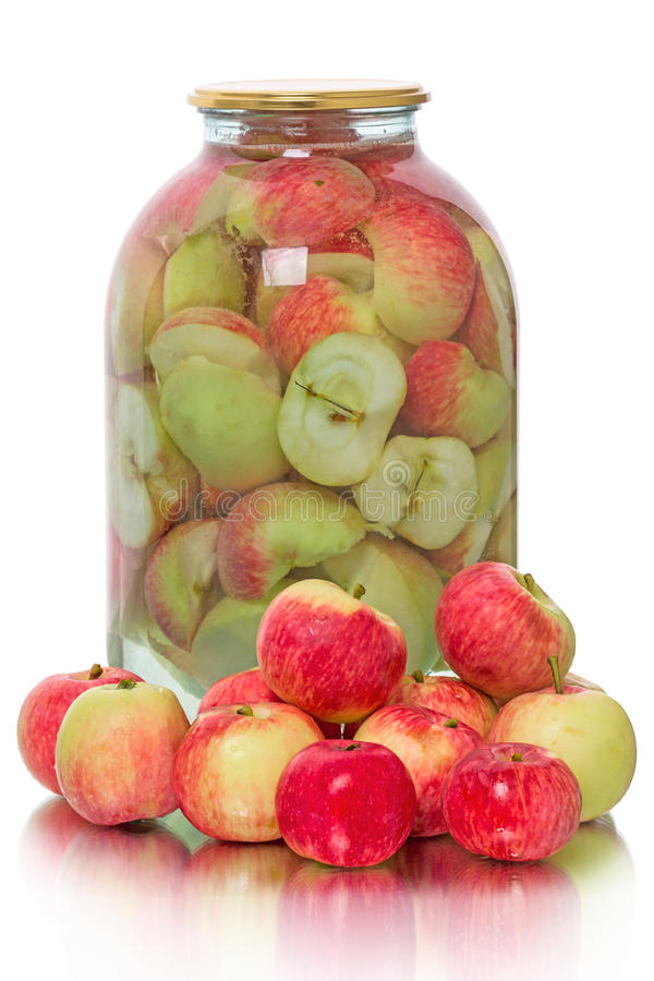 新鲜的苹果和蜜饯他们 库存照片