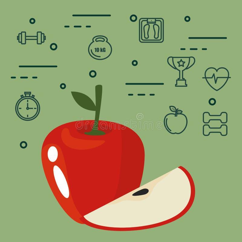 新鲜的苹果素食主义者食物 库存例证