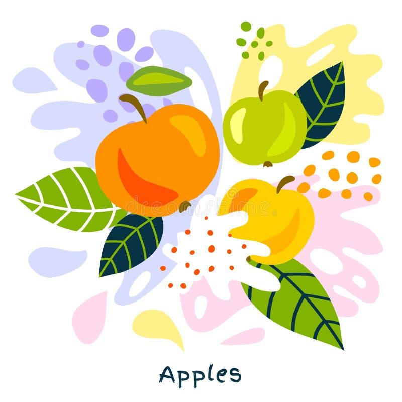 新鲜的苹果莓果莓果水多的苹果在抽象背景喷溅的汁液飞溅有机食品 库存例证