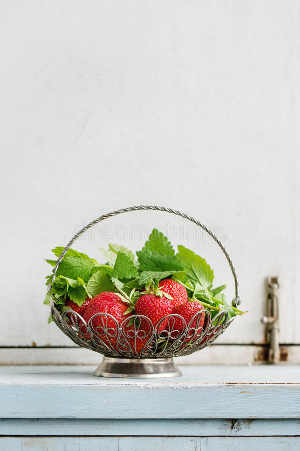 新鲜的草莓和蜜蜂花草本 免版税库存照片