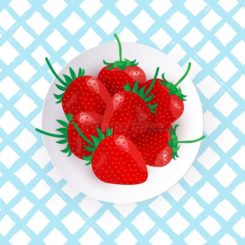 新鲜的草莓的传染媒介例证在白色板材的 向量例证